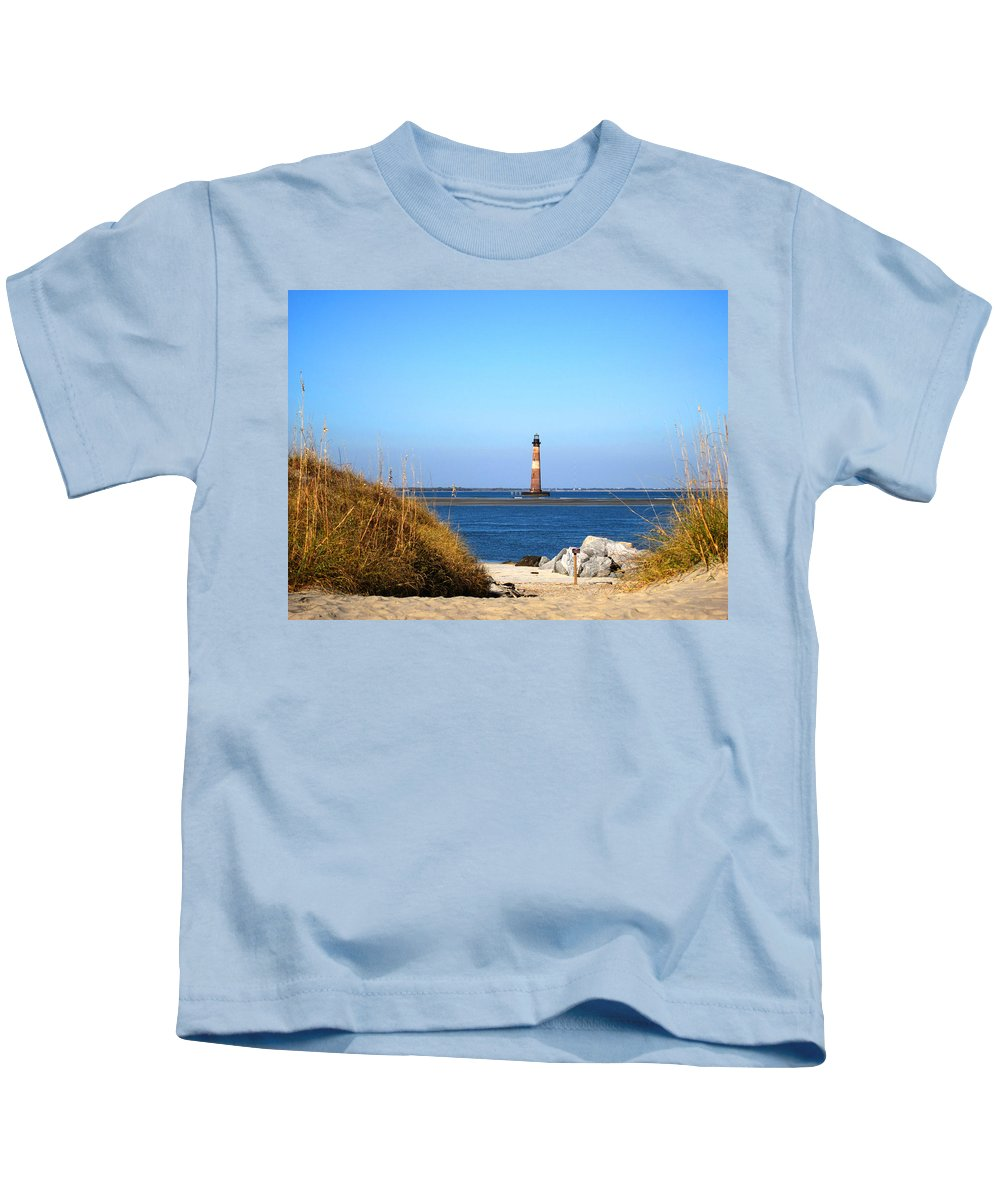 Photography Kids T-Shirt featuring the photograph The Lighhouse at Morris Island Charleston by Susanne Van Hulst
