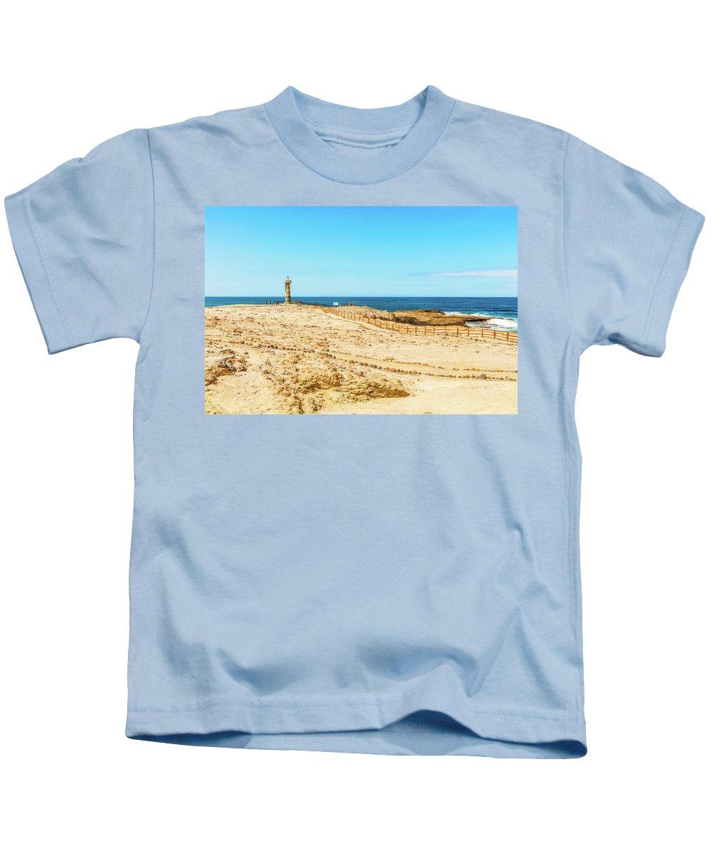 Local Landmark Kids T-Shirt featuring the photograph The Lighthouse In Salinas, Ecuador by Marek Poplawski
