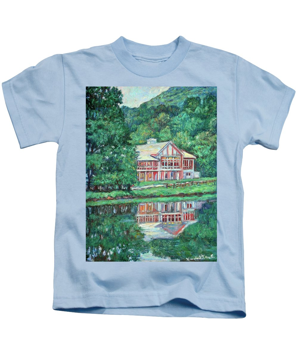 Lodge Paintings Kids T-Shirt featuring the painting The Lodge At Peaks Of Otter by Kendall Kessler