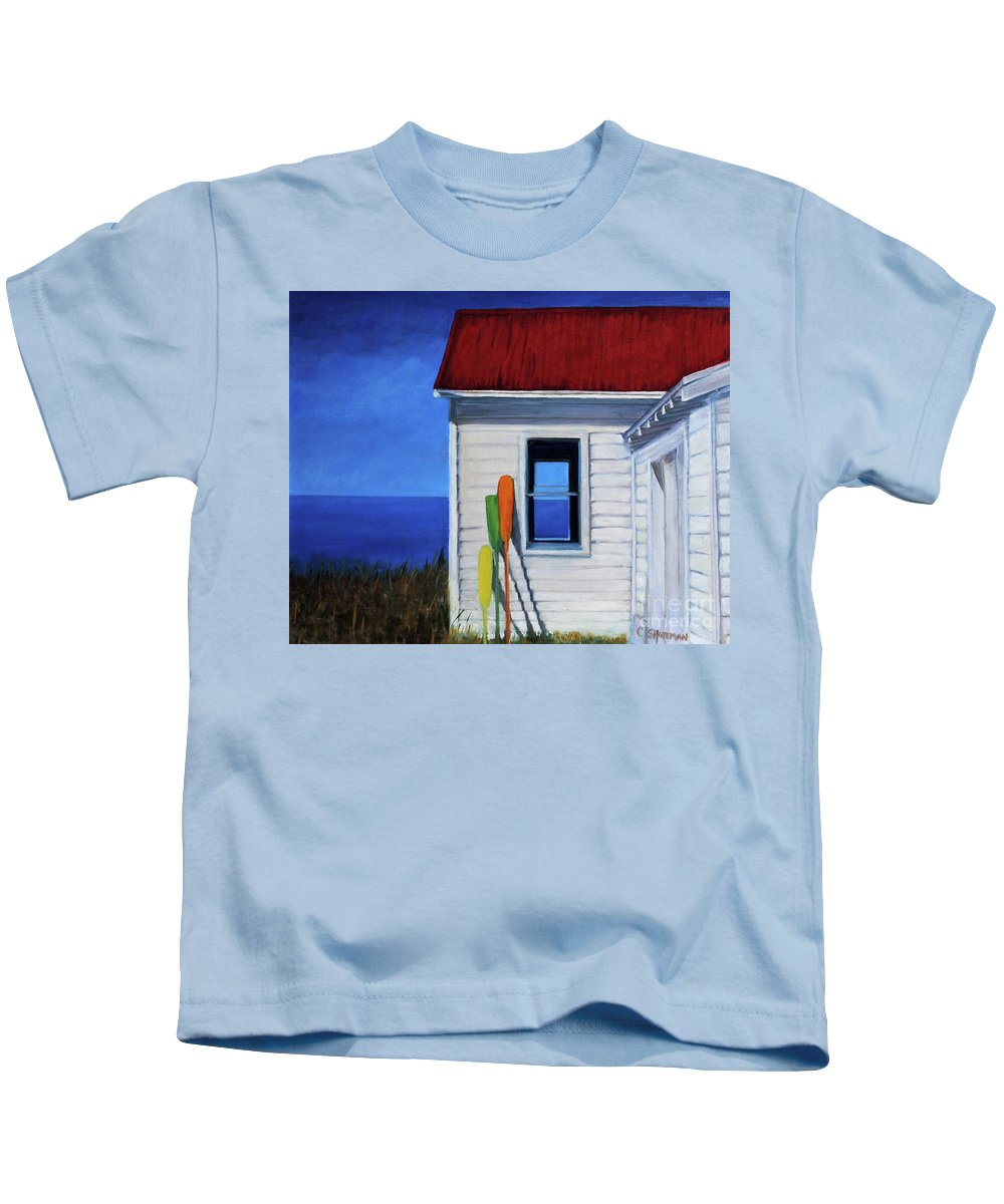 Martha Vineyard Kids T-Shirt featuring the painting The Oars by Carolyn Shireman
