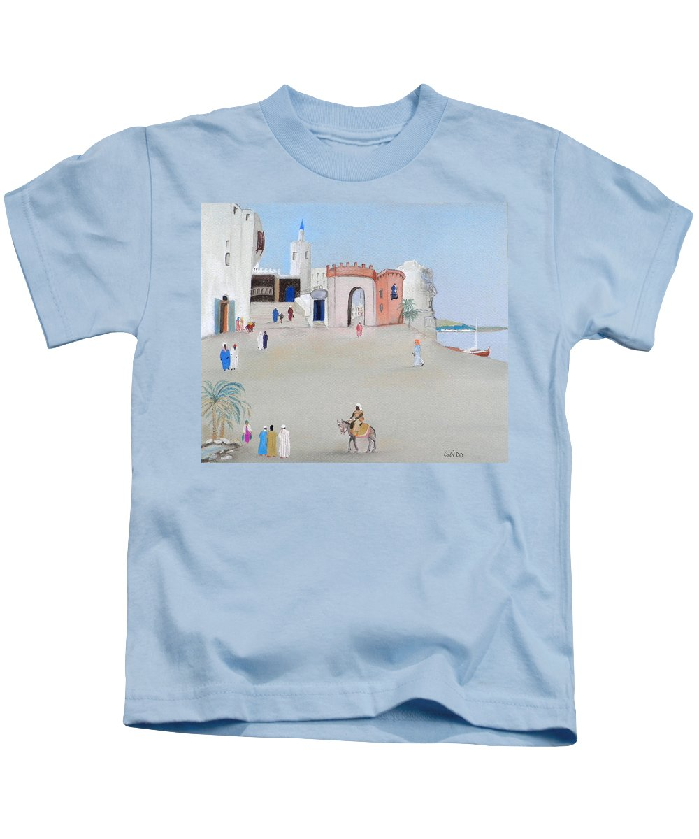 Drink At The Oasis Kids T-Shirt featuring the pastel The Oasis North Africa by Gordon Ogilvie
