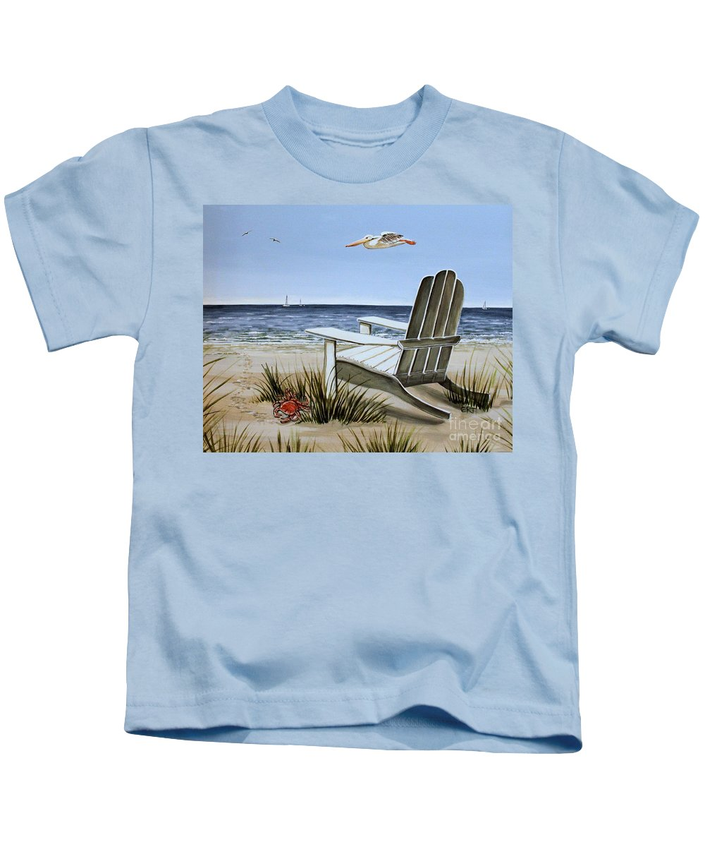 Landscape Kids T-Shirt featuring the painting The Pelican by Elizabeth Robinette Tyndall