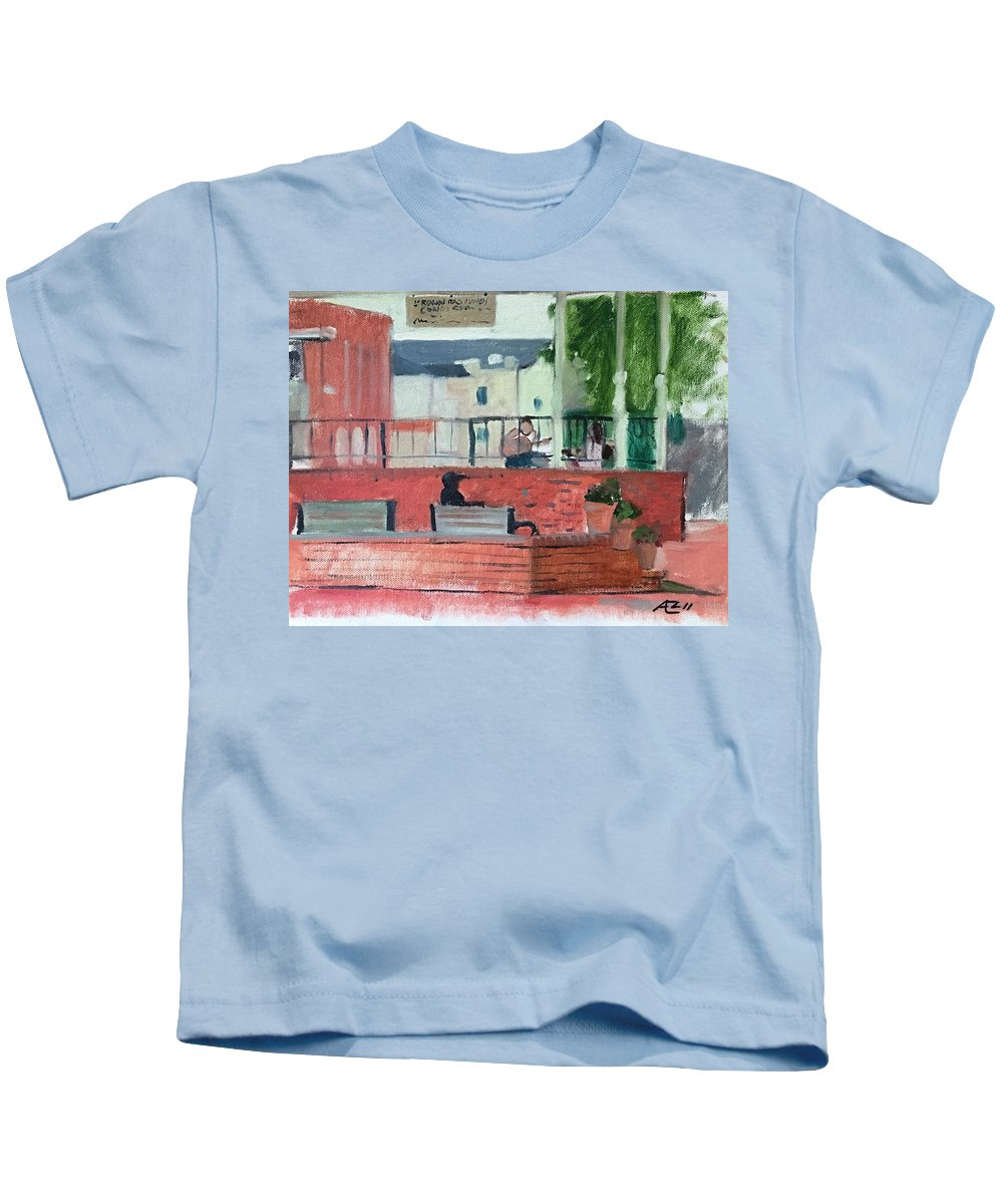 Kids T-Shirt featuring the painting The Plaza by Alejandro Lopez-Tasso