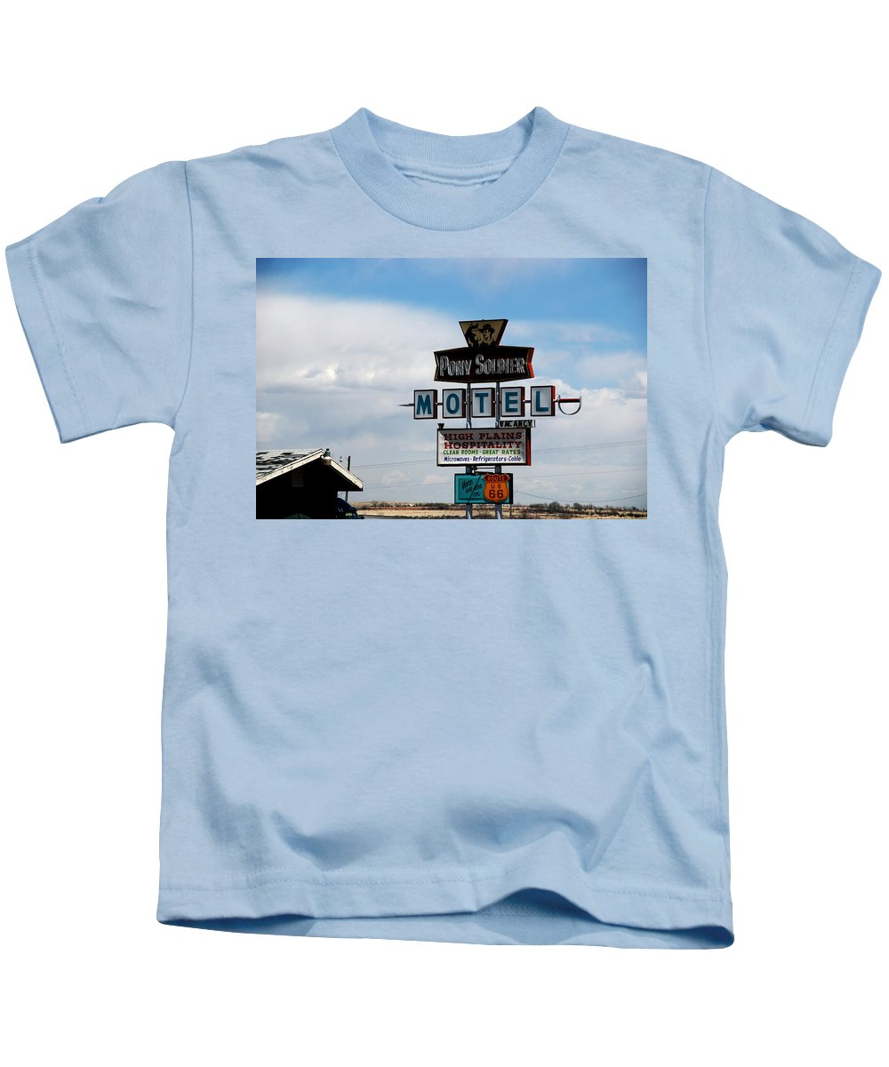 Pony Soldier Motel Kids T-Shirt featuring the photograph The Pony Soldier Motel On Route 66 by Susanne Van Hulst