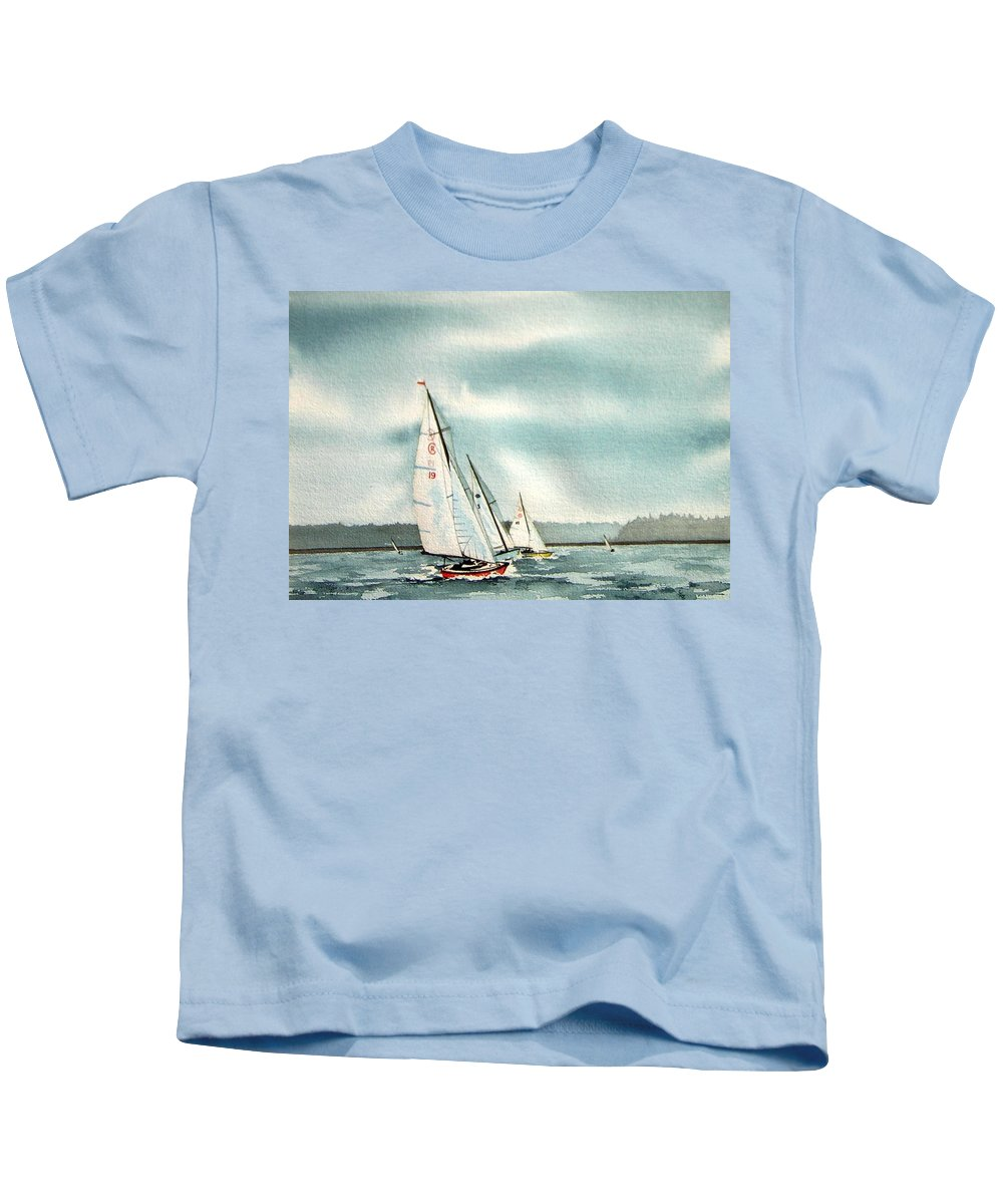Sailing Kids T-Shirt featuring the painting The Race by Gale Cochran-Smith
