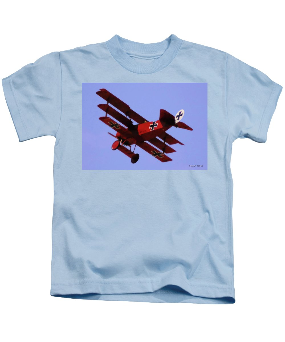 Triplane Kids T-Shirt featuring the digital art The Red Baron II by DigiArt Diaries by Vicky B Fuller