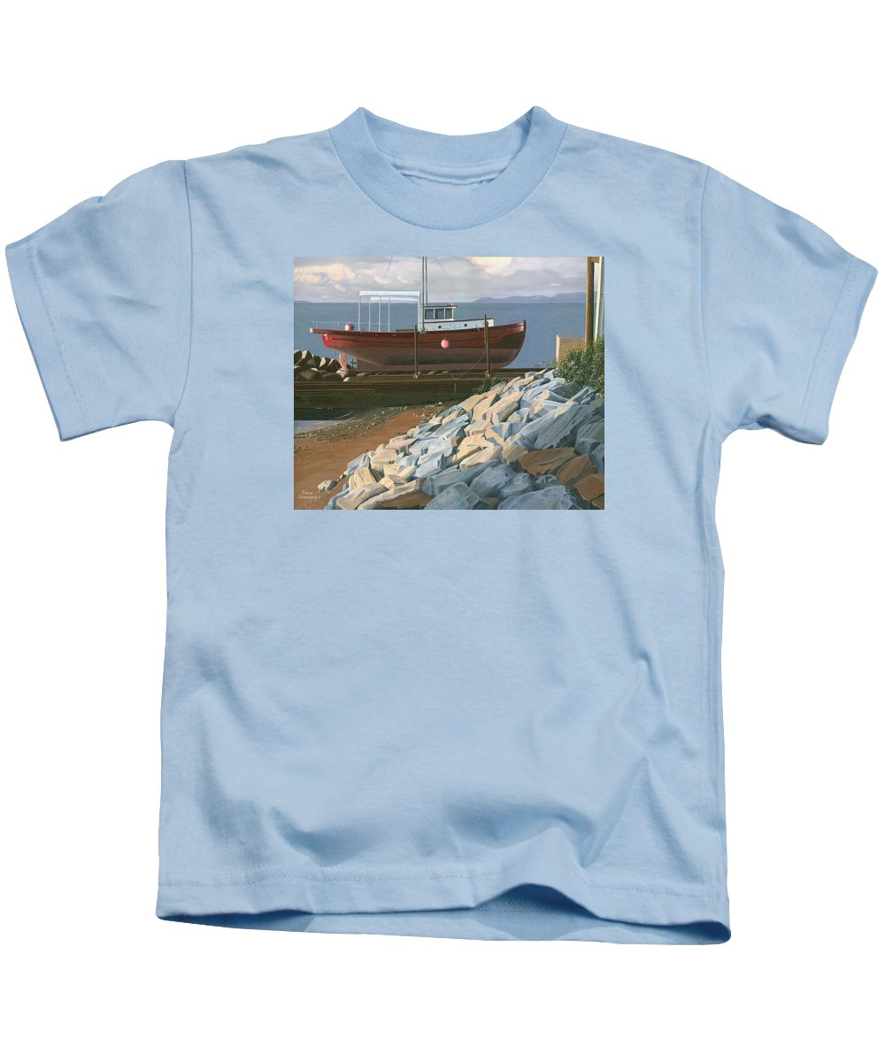 Ship Kids T-Shirt featuring the painting The Red Troller Revisited by Gary Giacomelli
