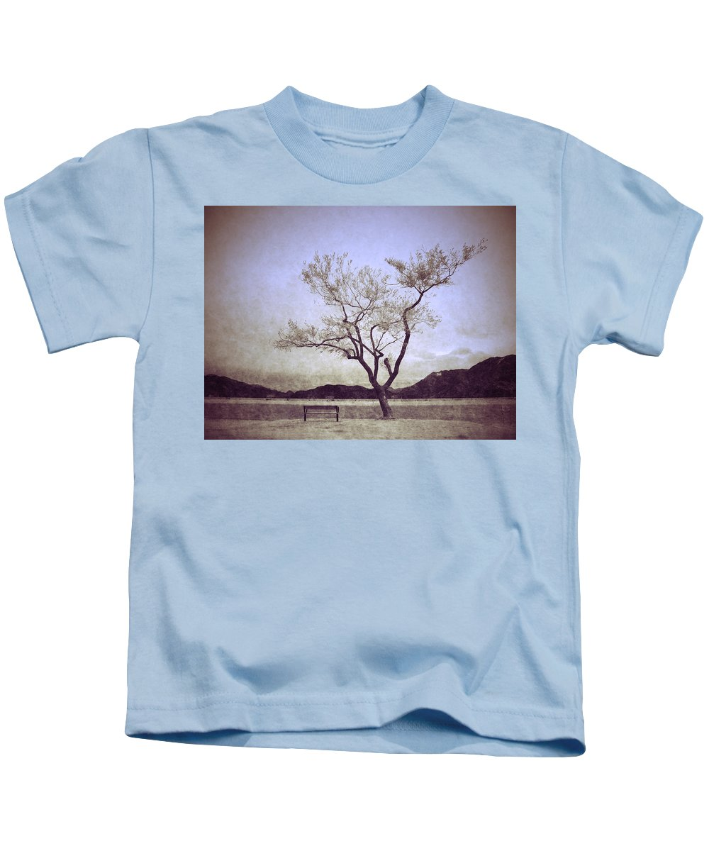 Bench Kids T-Shirt featuring the photograph The Reluctant Companion by Tara Turner