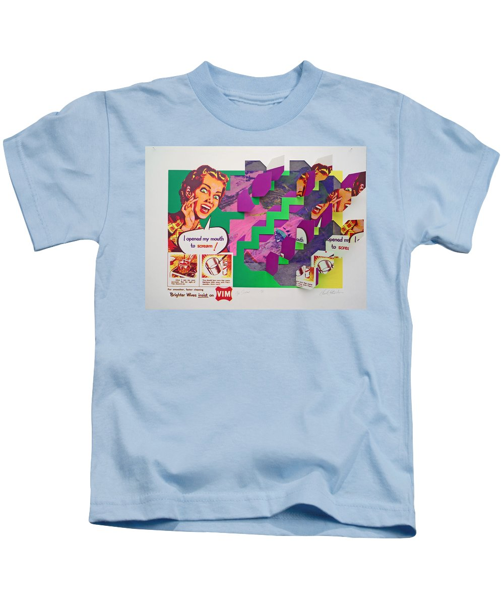 Psycho Kids T-Shirt featuring the mixed media The Scream 3 by Charles Stuart