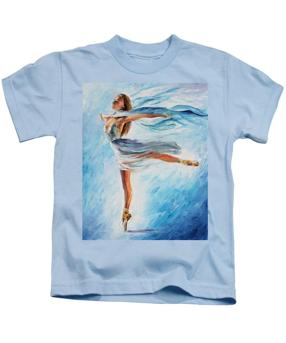 Afremov Kids T-Shirt featuring the painting The Sky Dance by Leonid Afremov