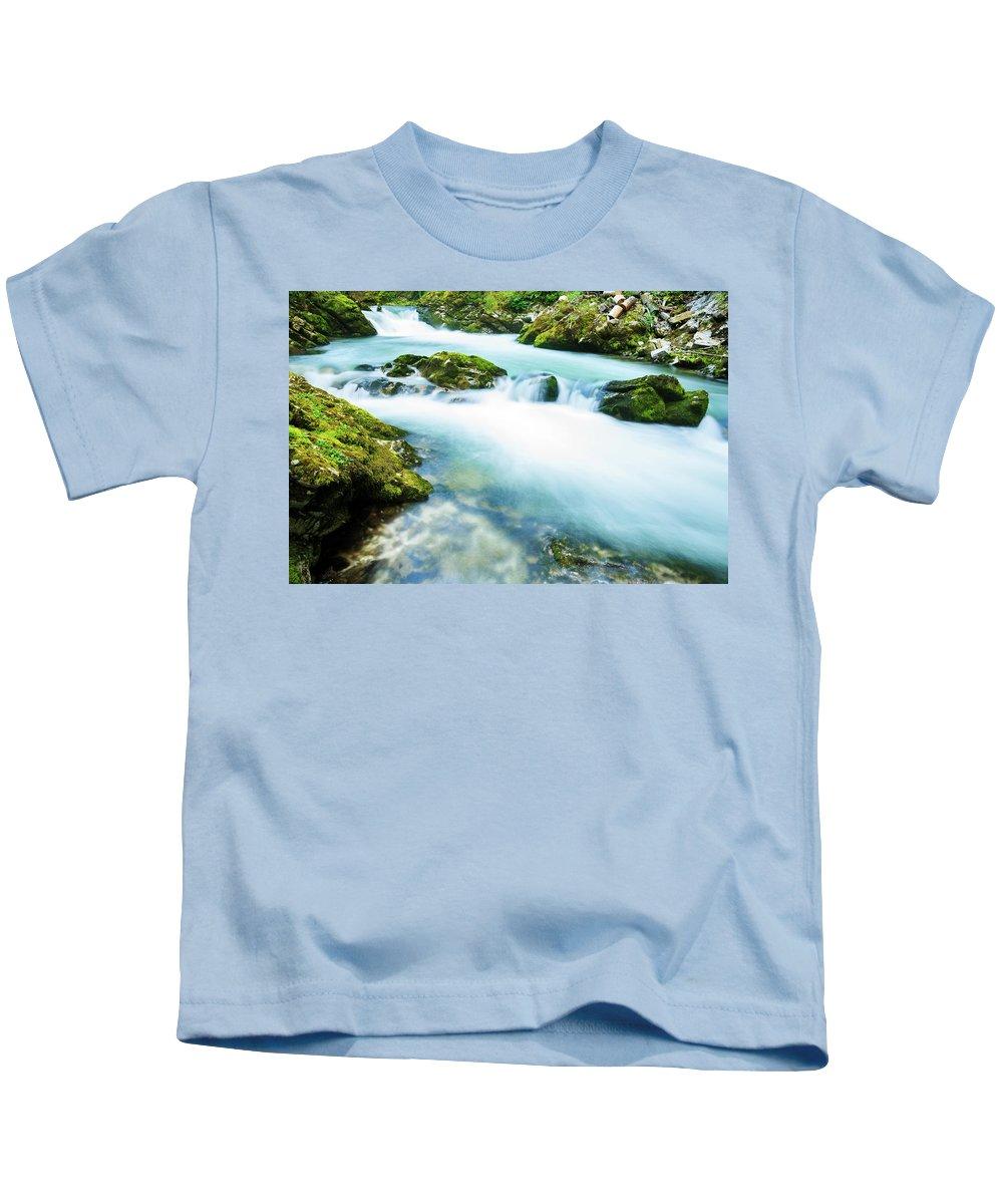 Soteska Kids T-Shirt featuring the photograph The Soteska Vintgar Gorge, Gorje, Near Bled, Slovenia by Ian Middleton