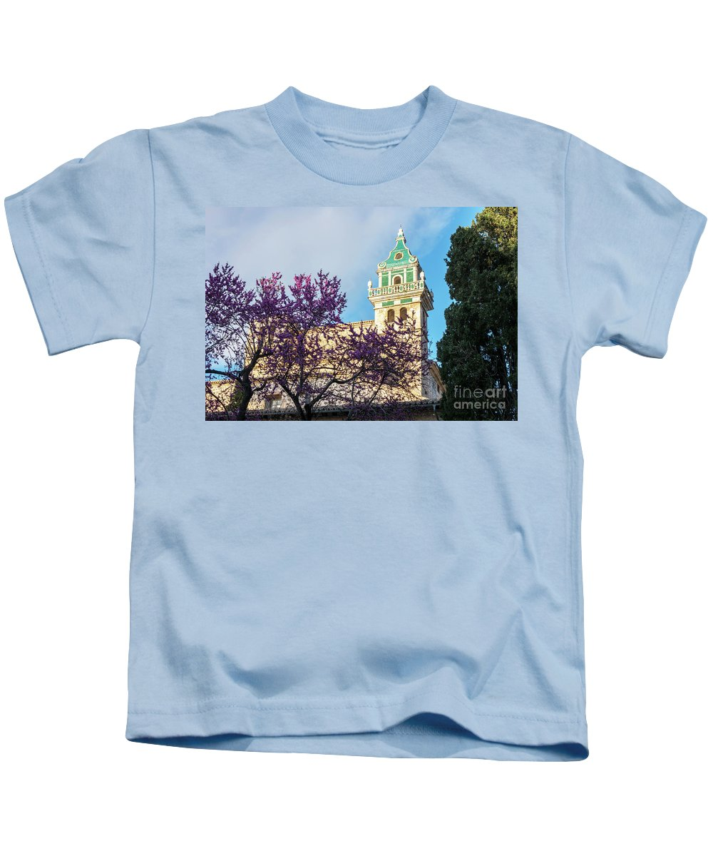 Valldemossa Kids T-Shirt featuring the photograph The Steeple Of The Valldemossa Charterhouse In Spring by Kenneth Lempert