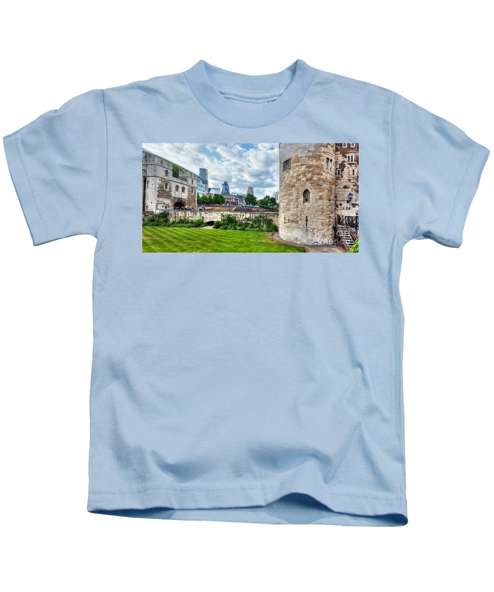 Tower Kids T-Shirt featuring the photograph The Tower Of London And The City District With Gherkin Skyscraper, The Uk by Michal Bednarek