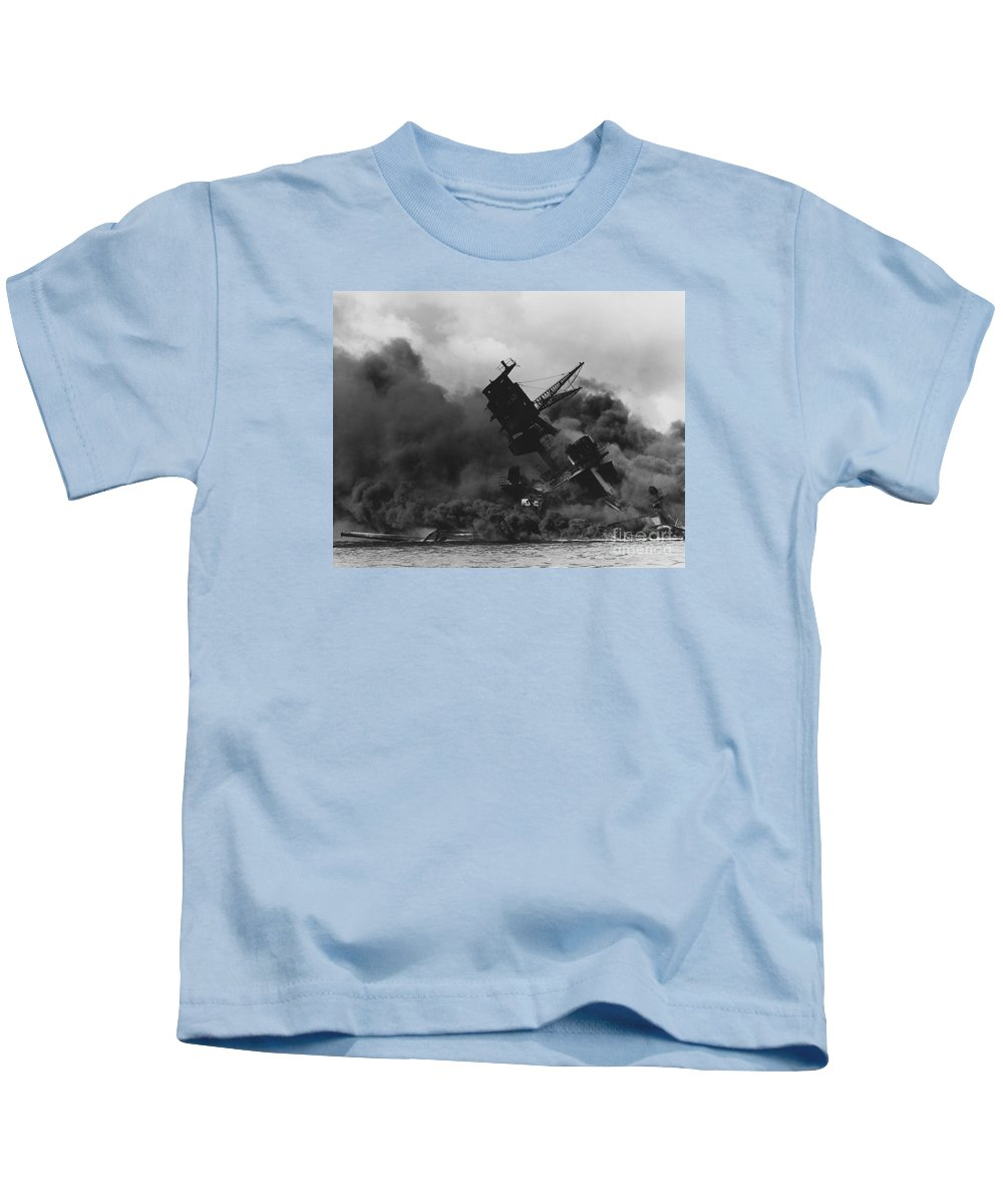 The Uss Arizona (bb-39) Burning After The Japanese Attack On Pearl Harbor Kids T-Shirt featuring the painting The Uss Arizona Bb-39 Burning After The Japanese Attack On Pearl Harbor by Celestial Images