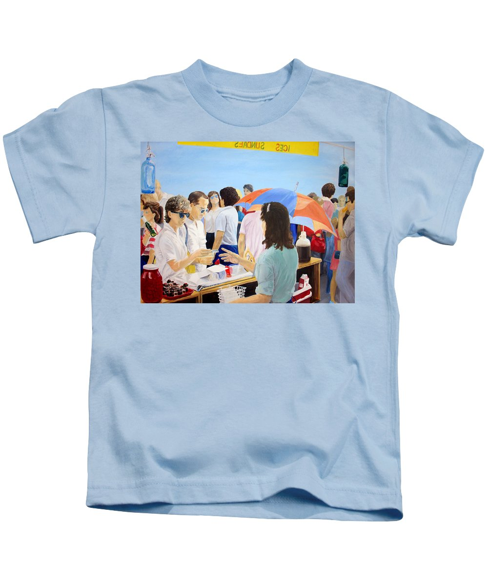 People Kids T-Shirt featuring the painting The Vendor by Steve Karol