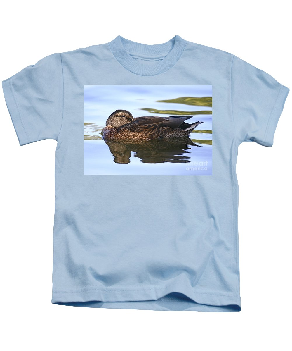 Duck Kids T-Shirt featuring the photograph The Water Bed by Robert Pearson