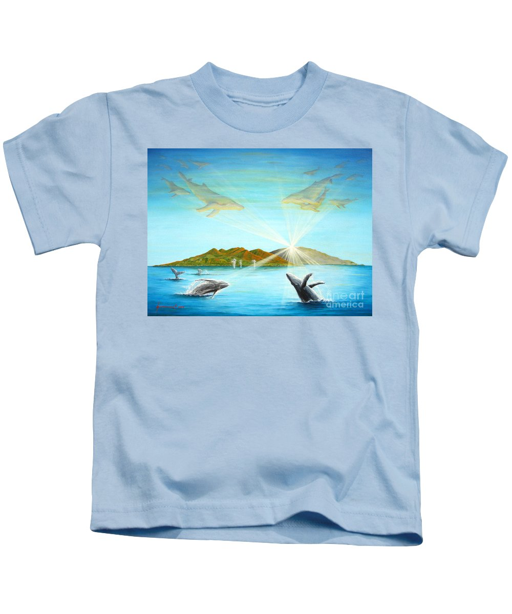 Whales Kids T-Shirt featuring the painting The Whales Of Maui by Jerome Stumphauzer