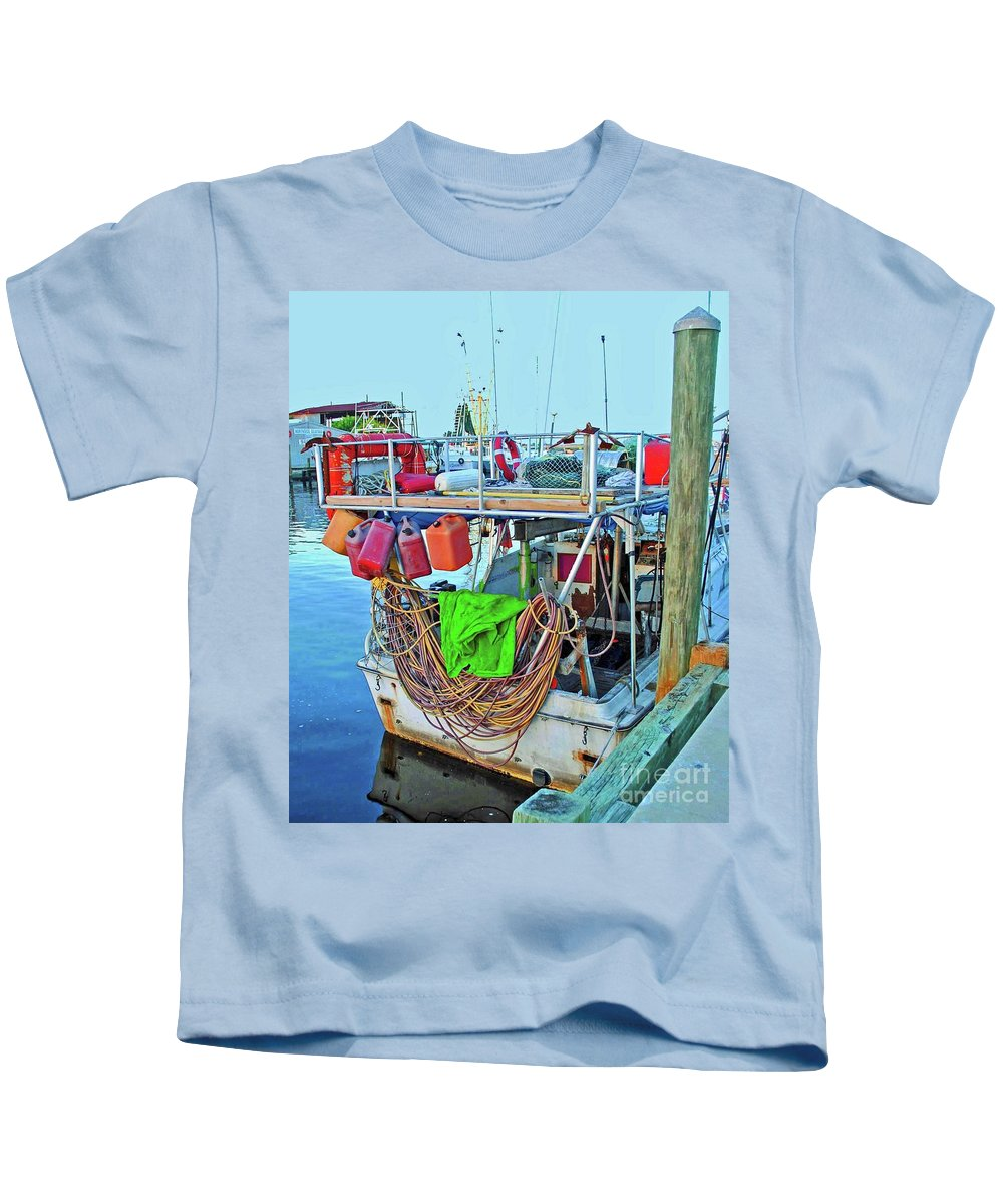 Boat Kids T-Shirt featuring the photograph The Work Boat by Jost Houk