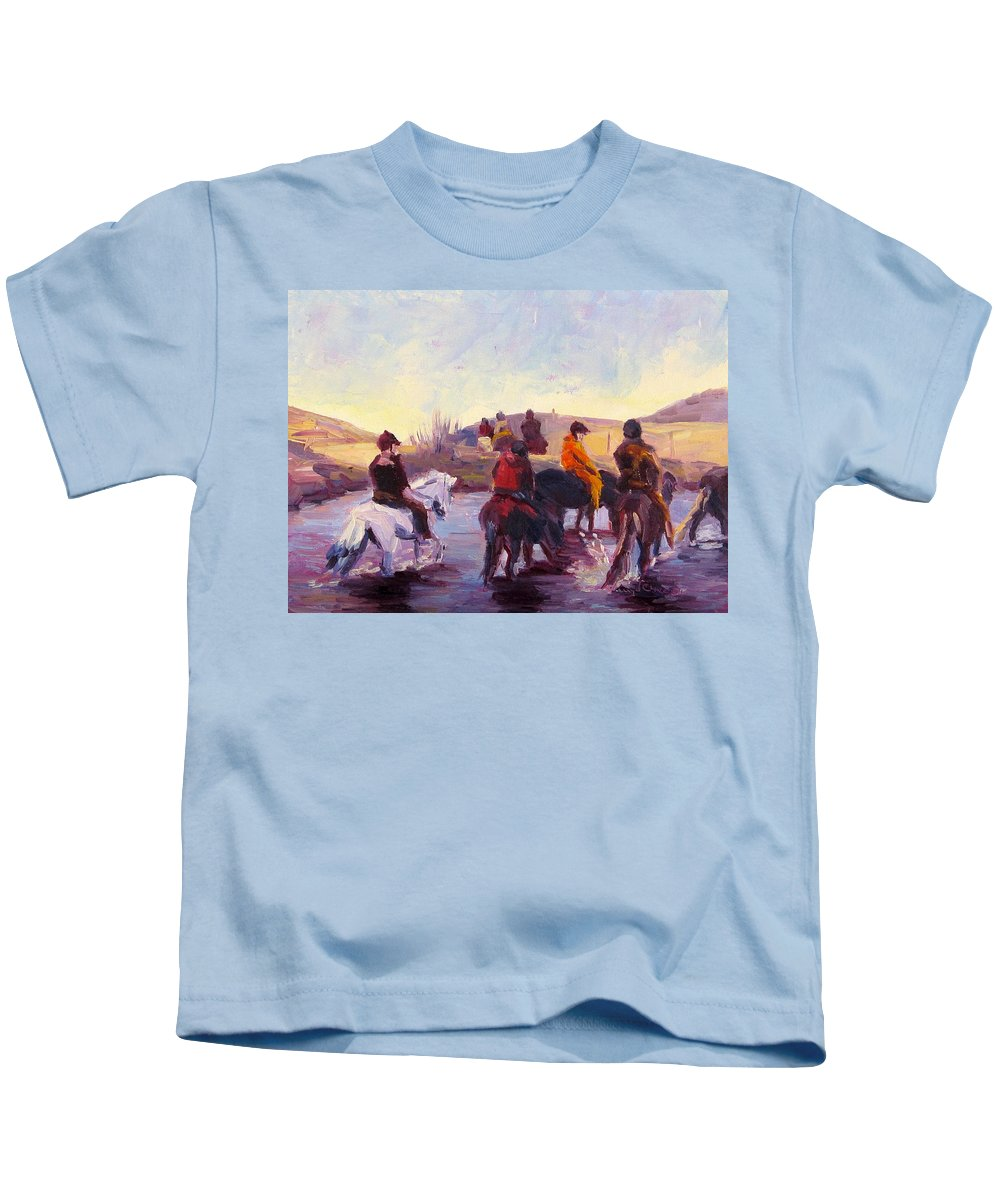 Icelandic Horse Kids T-Shirt featuring the painting Thirsty by Terry Chacon