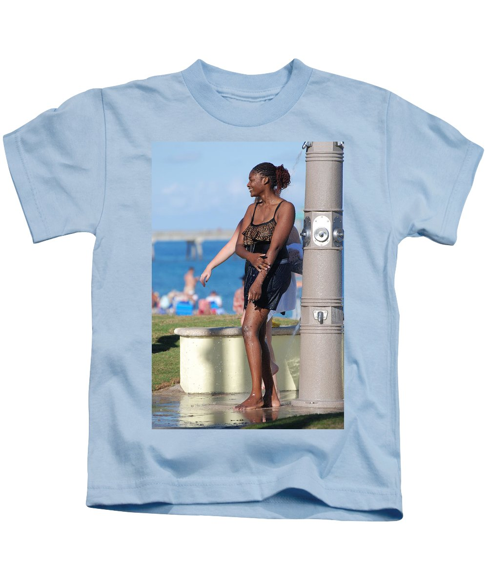 Bathing Suit Kids T-Shirt featuring the photograph Three Arms At The Shower by Rob Hans