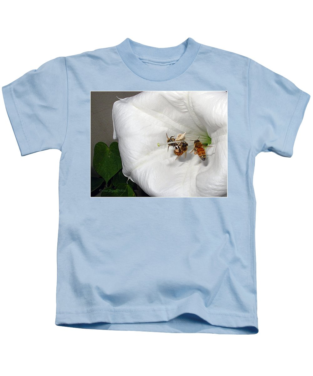 Bee Kids T-Shirt featuring the photograph Three Busy Bees by Joyce Dickens
