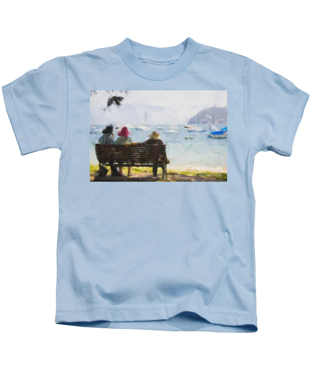 Impressionism Impressionist Water Boats Three Ladies Seat Kids T-Shirt featuring the photograph Three ladies by Sheila Smart Fine Art Photography