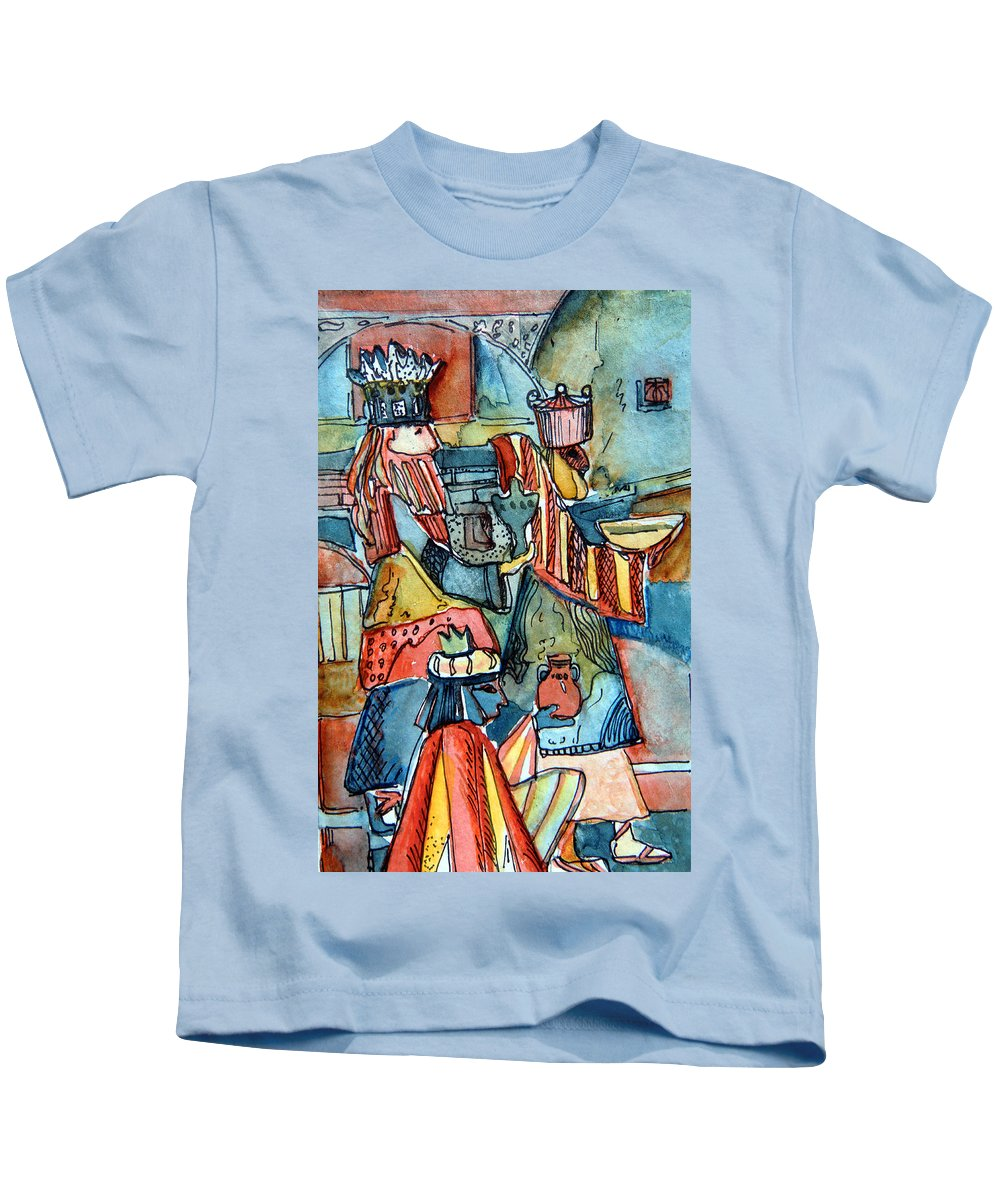 Wise Kids T-Shirt featuring the painting Three Wise Men by Mindy Newman