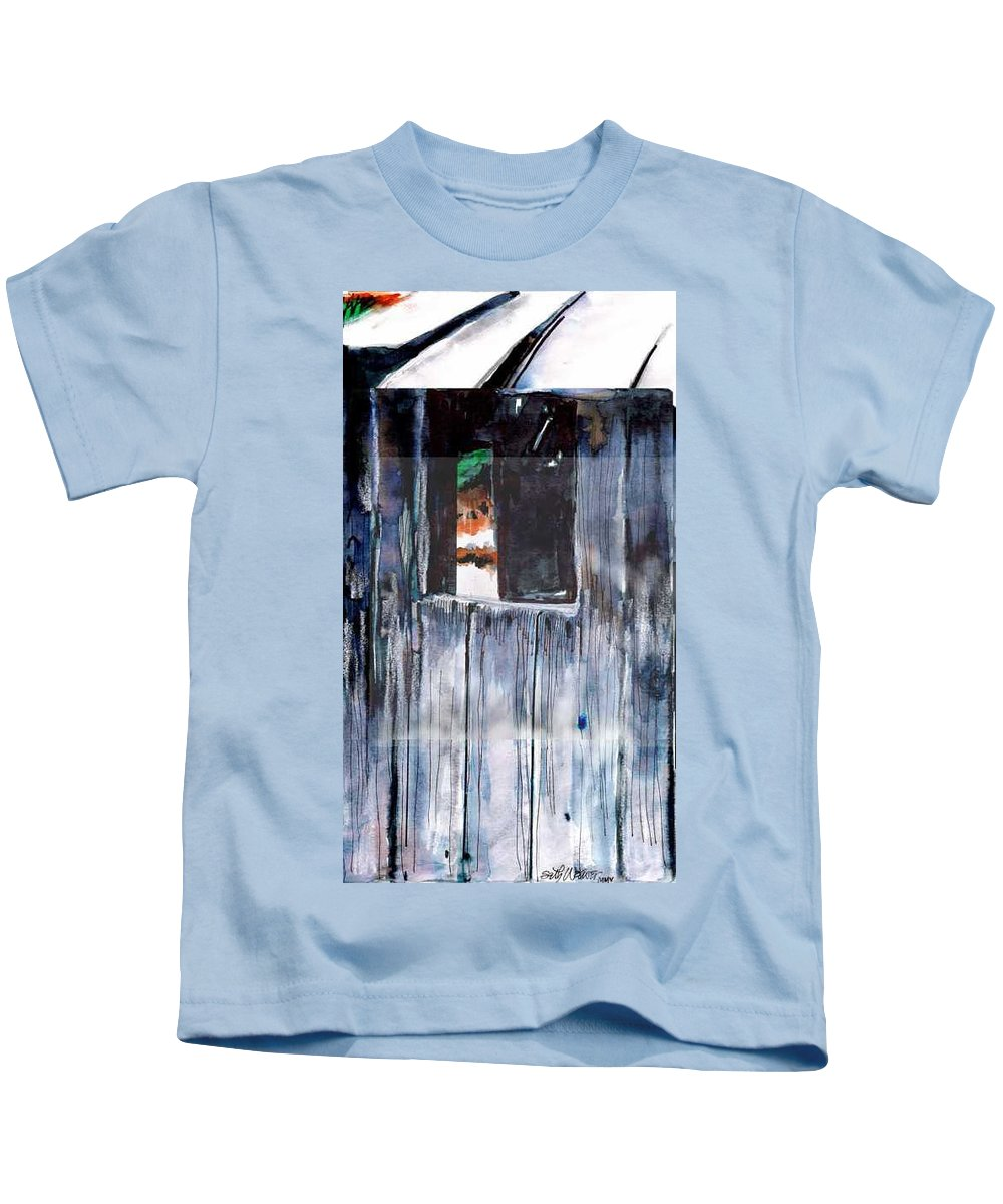 An Old Mysterious Barn With Deep Dark Shadows And Secrets. Rustic And Moody. Kids T-Shirt featuring the drawing Thru the Barn Window by Seth Weaver