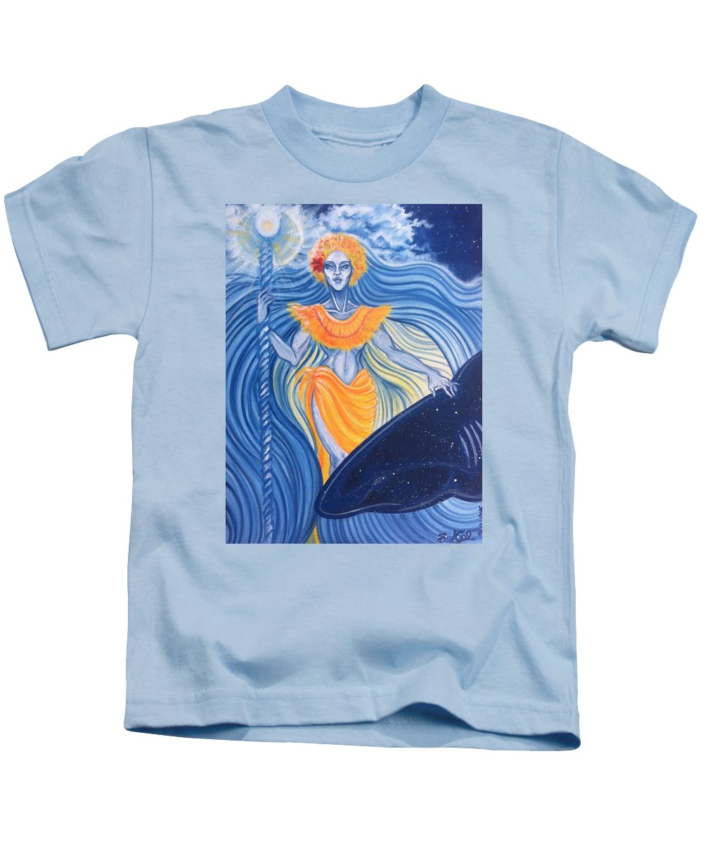 Tahiti Kids T-Shirt featuring the painting Tiavai by Sandra Gellato