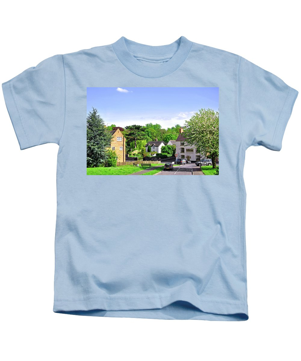 Fence Kids T-Shirt featuring the photograph Ticknall Village From Ingleby Lane by Rod Johnson