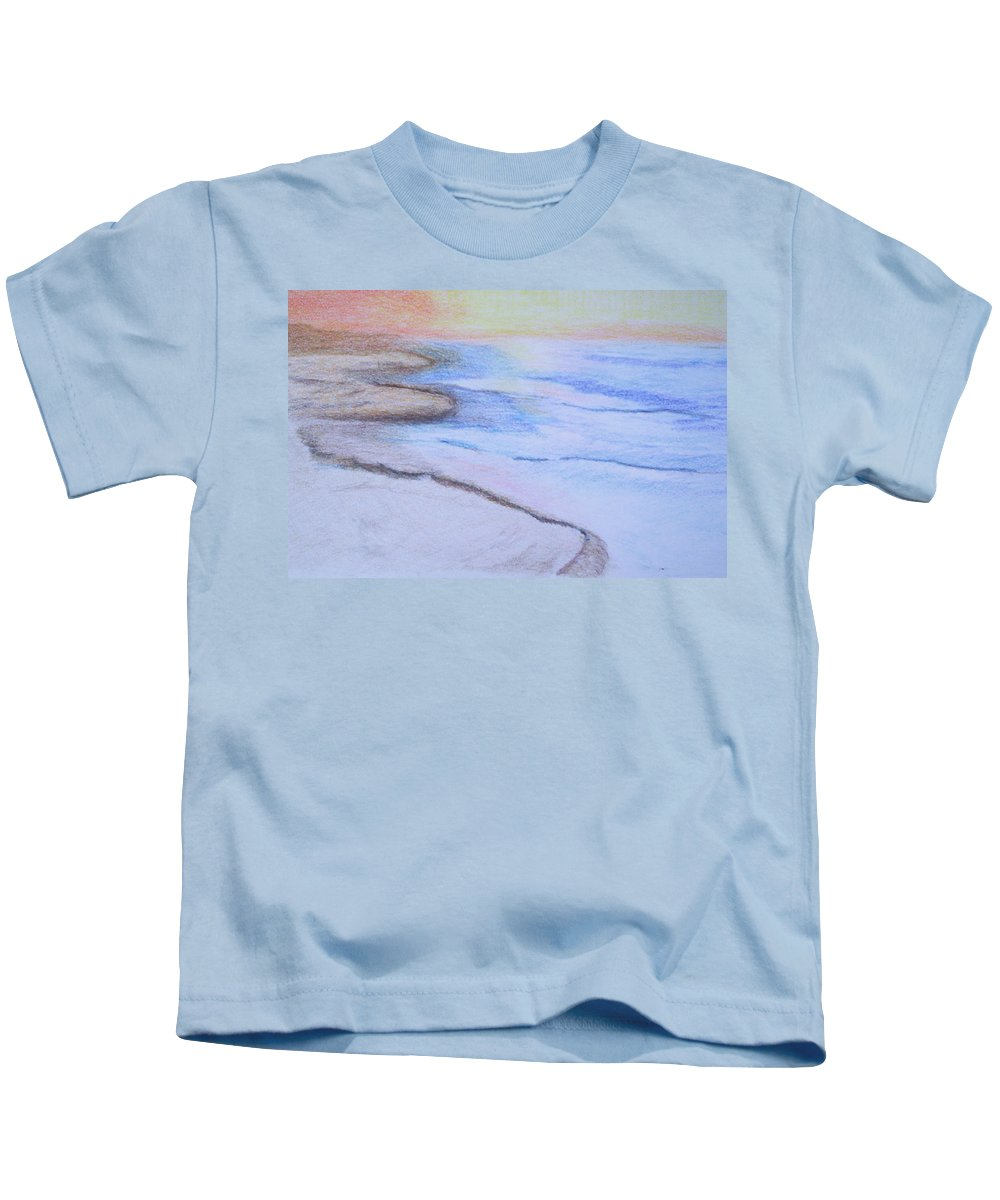 Landscape Kids T-Shirt featuring the drawing Tide Is Out by Suzanne Udell Levinger