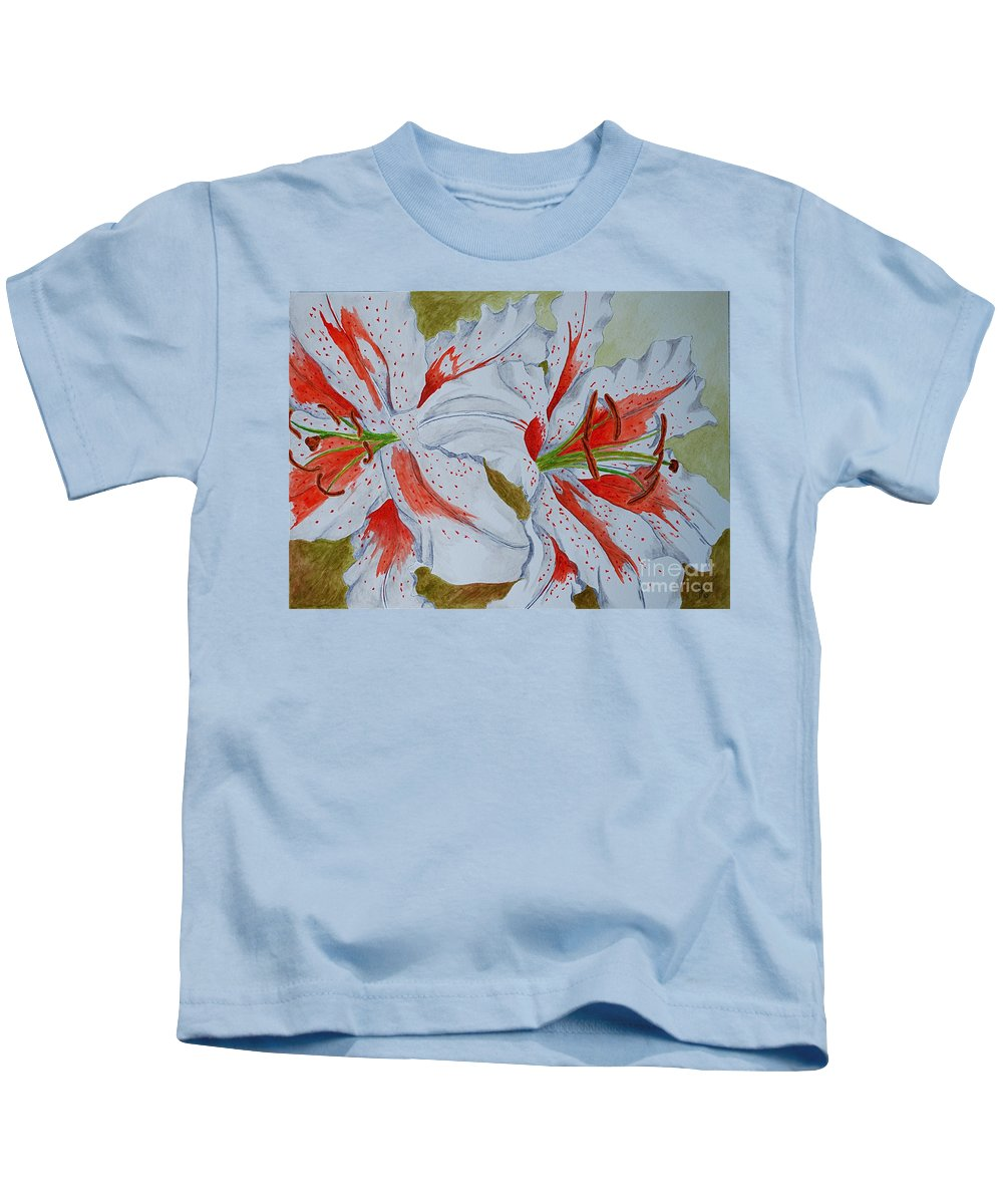 Lilly Red Lilly Tiger Lilly Kids T-Shirt featuring the painting Tiger Lilly by Herschel Fall