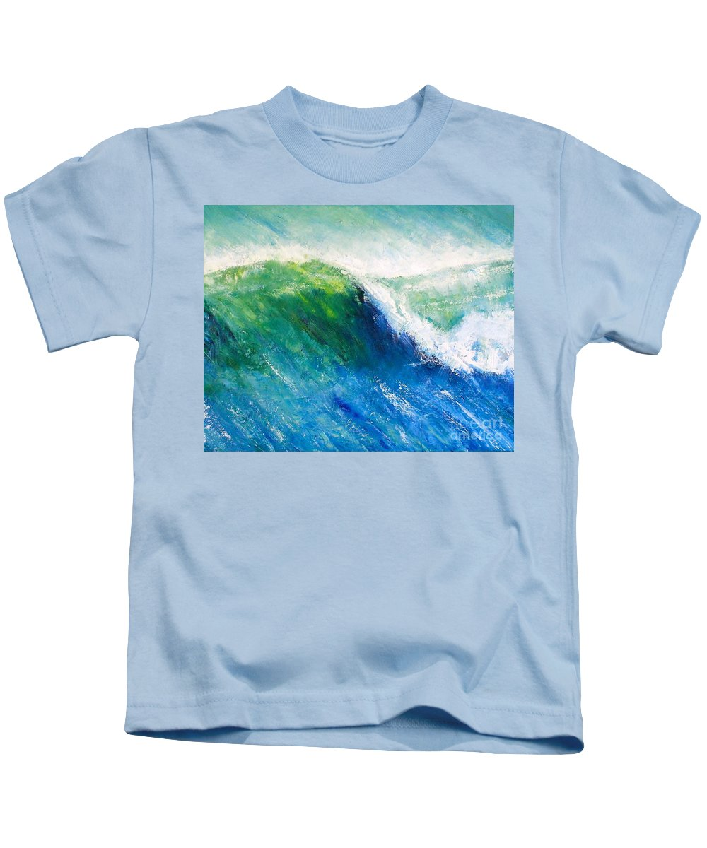 Ocean Kids T-Shirt featuring the painting Tilting Wave by Alan Metzger