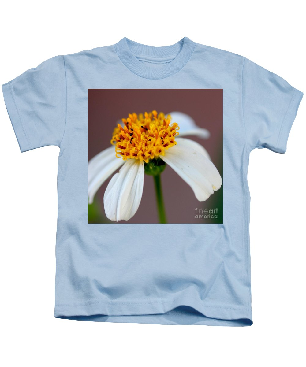 Ants Kids T-Shirt featuring the photograph Tiny Ants In Tiny Flower by Mesa Teresita