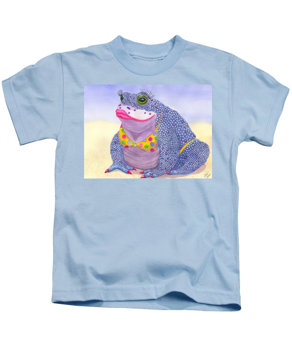 Toad Kids T-Shirt featuring the painting Toadaly Beautiful by Catherine G McElroy