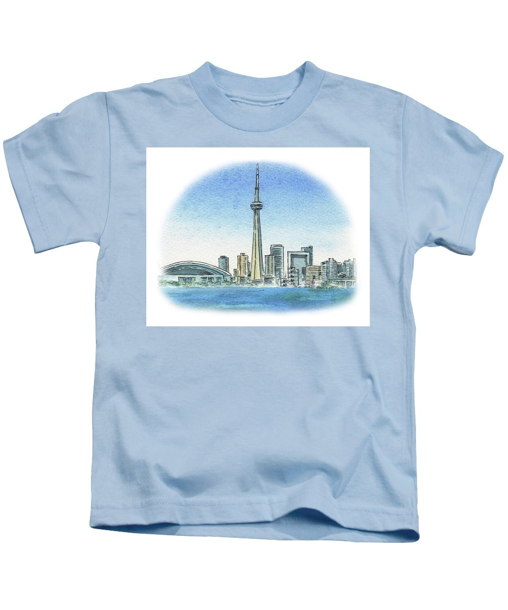 Toronto Kids T-Shirt featuring the painting Toronto Canada City Skyline by Irina Sztukowski