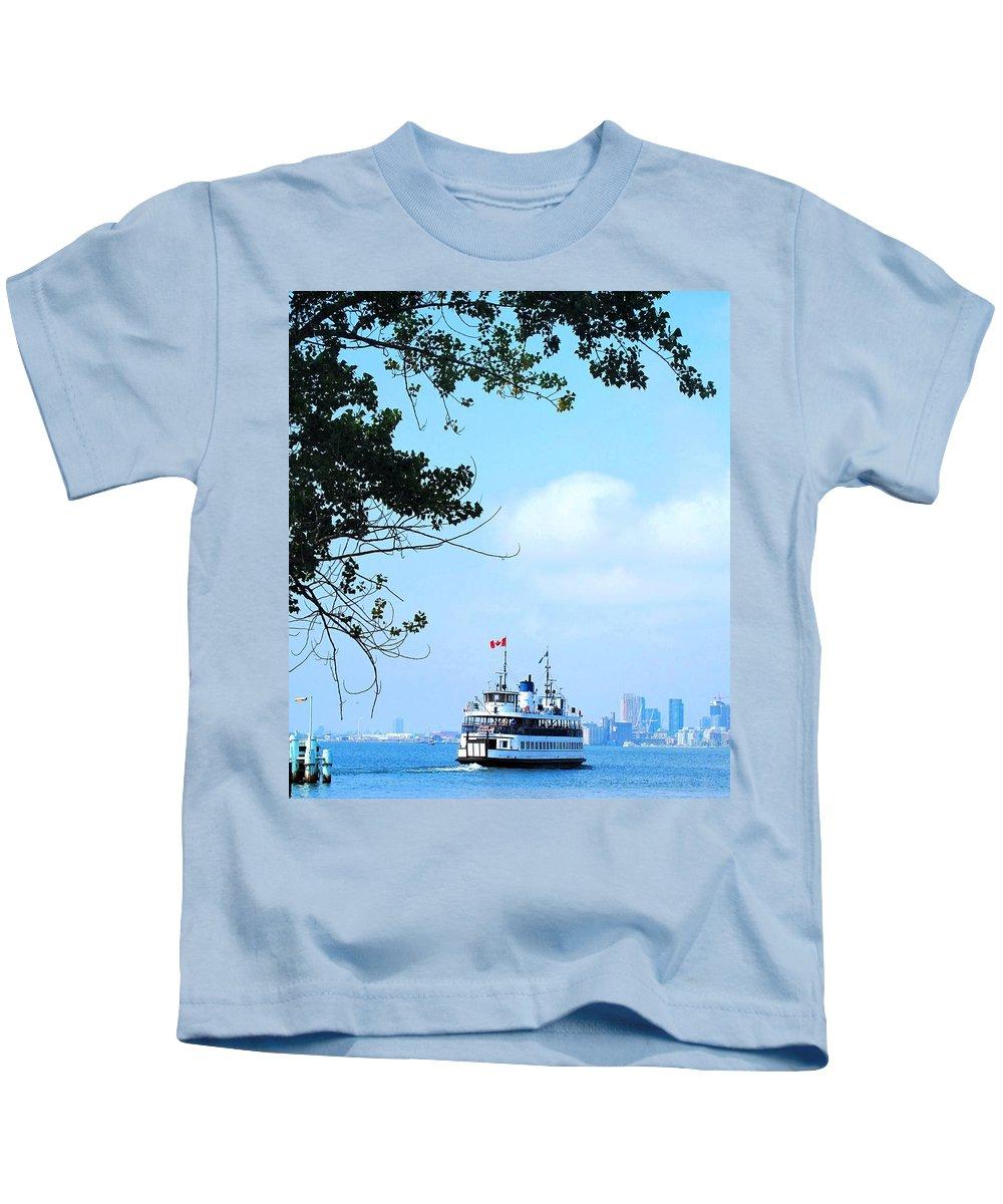 Ferry Kids T-Shirt featuring the photograph Toronto Island Ferry by Ian MacDonald