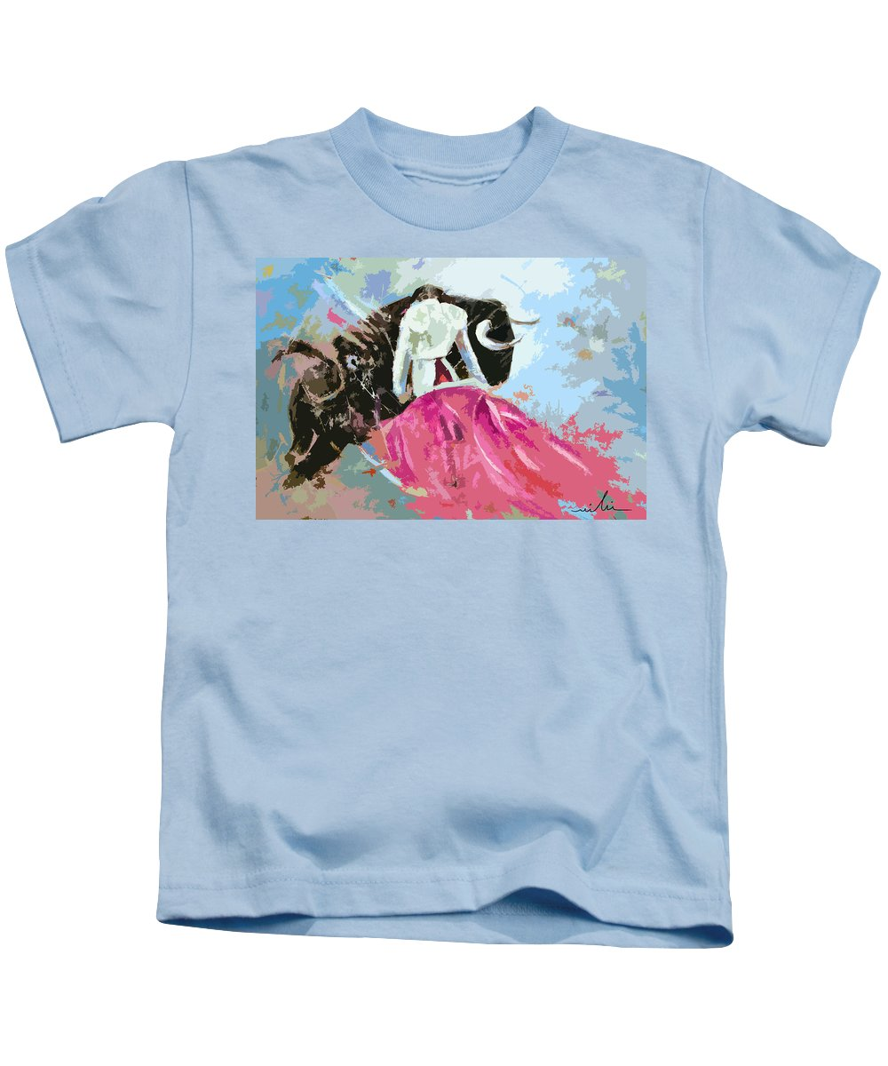 Animals Kids T-Shirt featuring the painting Toroscape 34 by Miki De Goodaboom