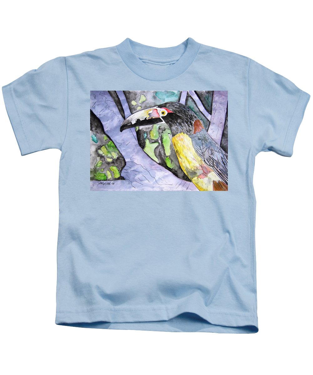 Touccan Kids T-Shirt featuring the painting Toucan Bird Tropical Painting Fine Modern Art Print by Derek Mccrea
