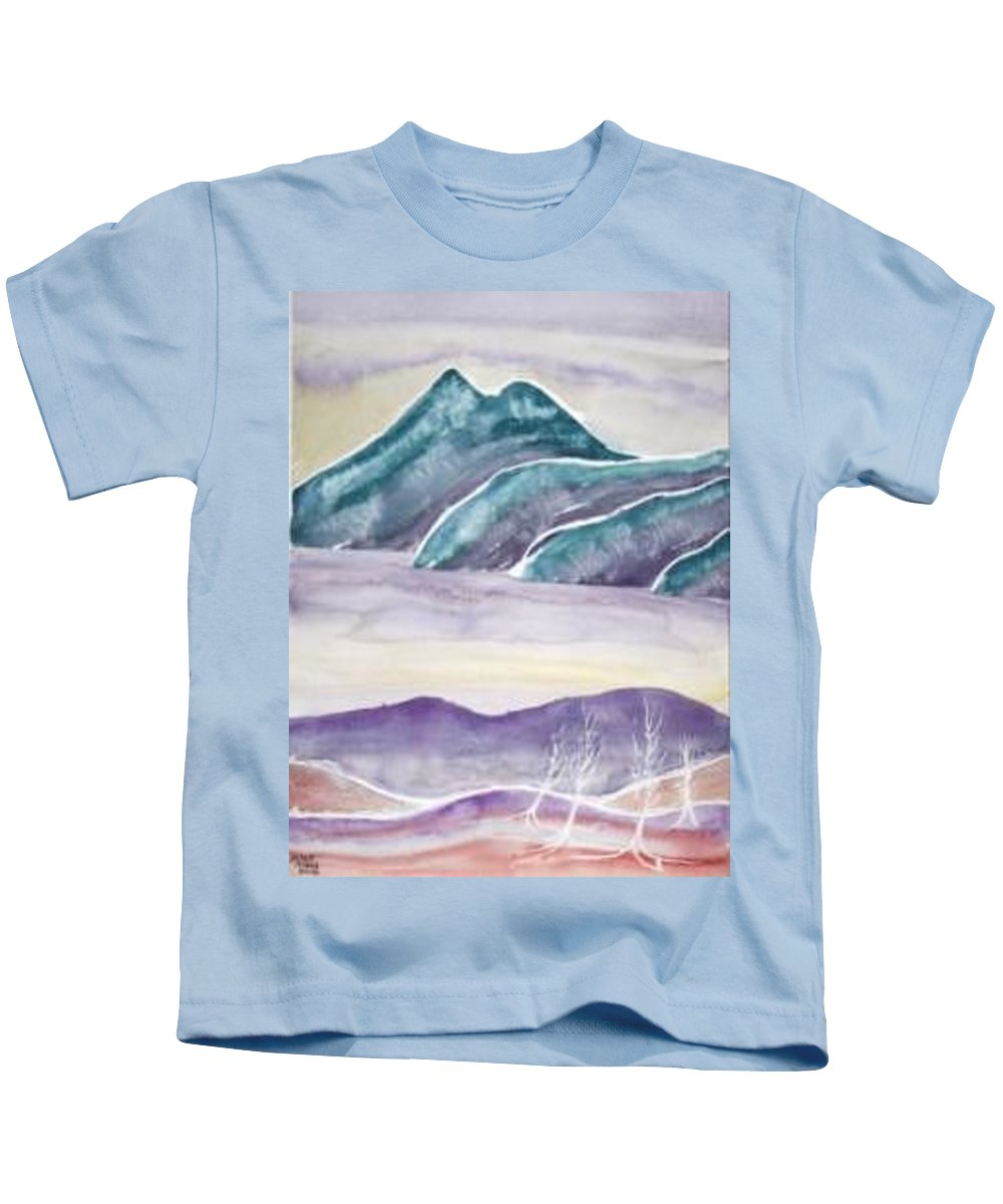 Watercolor Kids T-Shirt featuring the painting TRANQUILITY landscape mountain surreal modern fine art print by Derek Mccrea