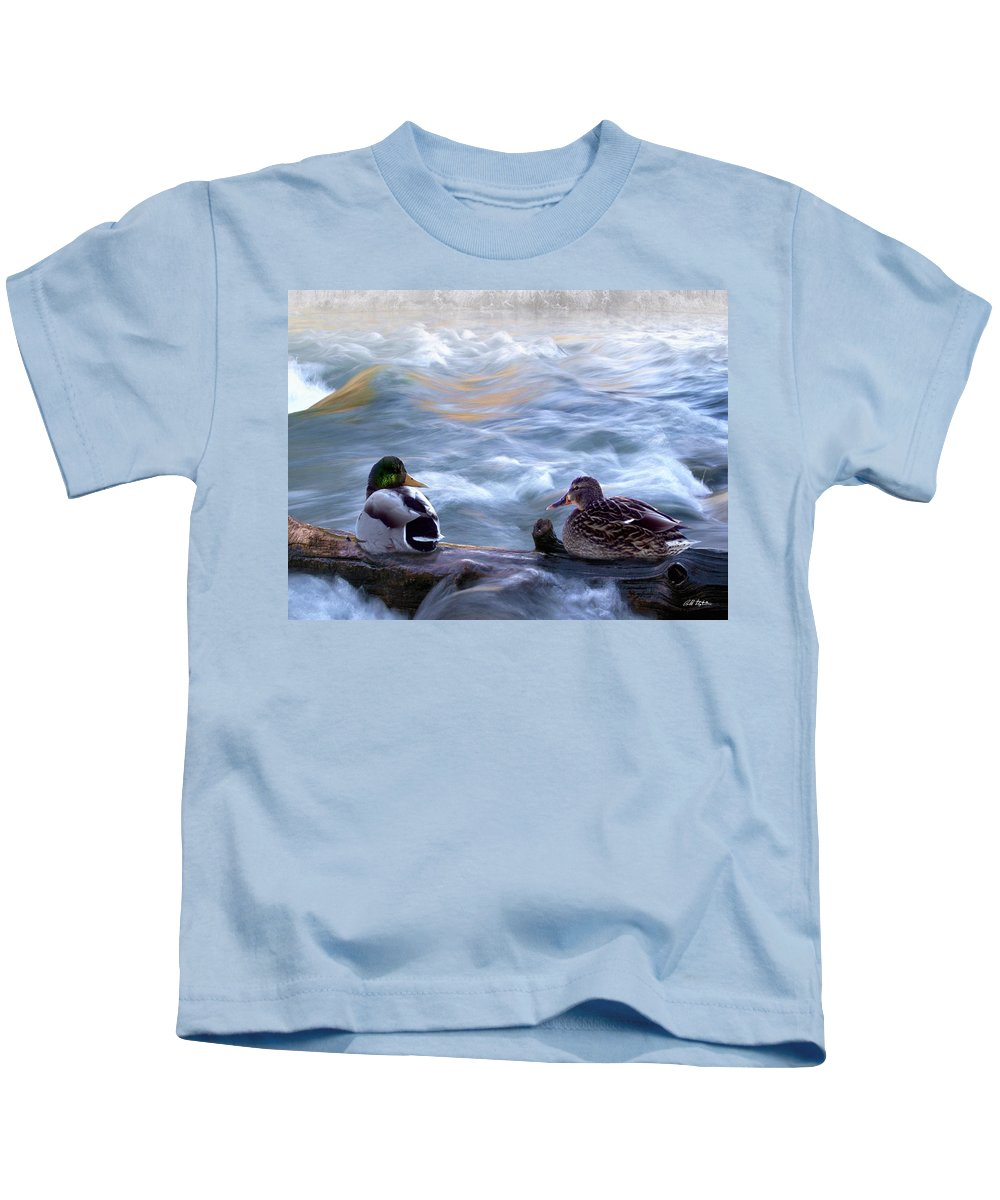 Wildlife Kids T-Shirt featuring the digital art Tranquility On The River Of Life by Bill Stephens