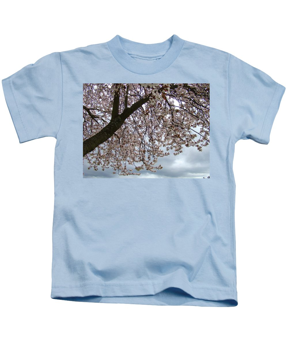�blossoms Artwork� Kids T-Shirt featuring the photograph Tree Blossoms Landscape 11 Spring Blossoms Art Prints Giclee Sky Storm Clouds by Baslee Troutman