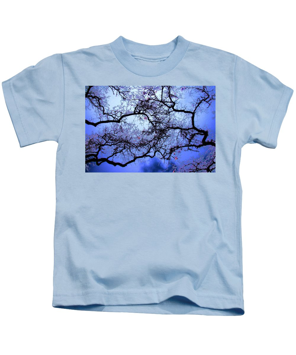 Scenic Kids T-Shirt featuring the photograph Tree Fantasy In Blue by Lee Santa