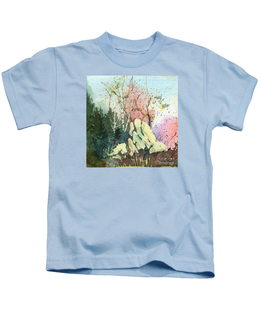 Landscape Kids T-Shirt featuring the painting Triptych Panel 1 by Lynn Quinn