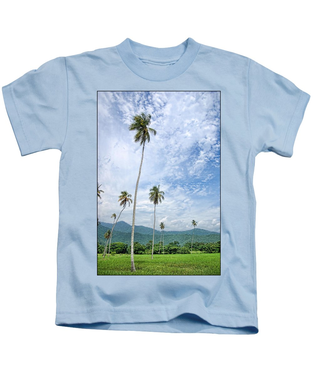 Palms Kids T-Shirt featuring the photograph Tropical Palms by Galeria Trompiz