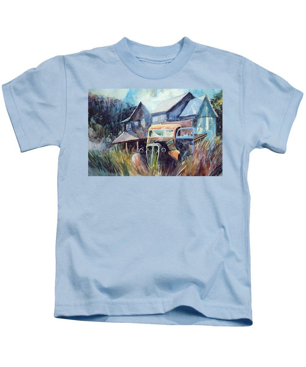 House Truck Grass Kids T-Shirt featuring the painting Truck in the Tall Grass by Ron Morrison