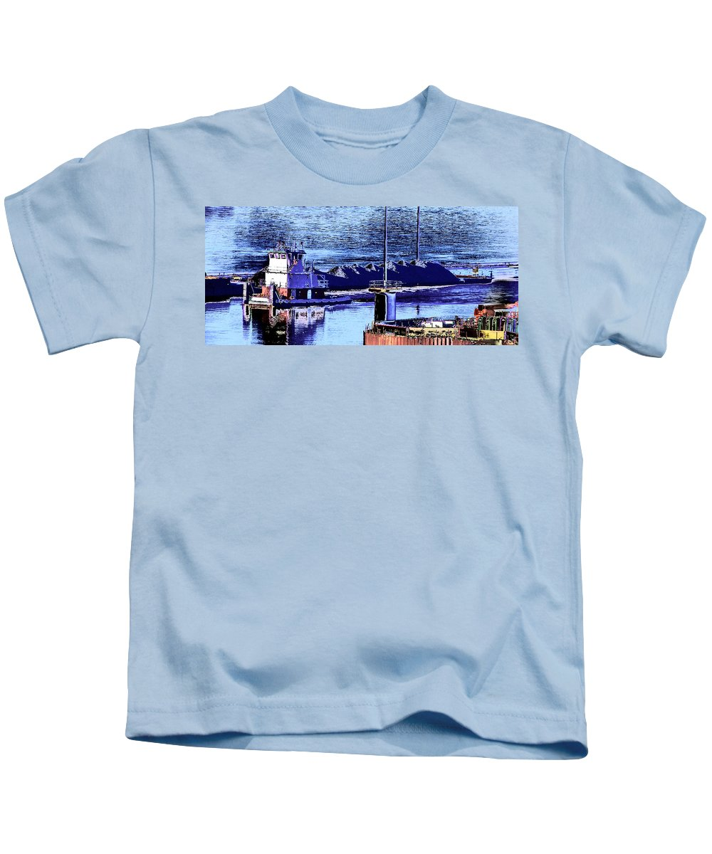 Abstract Kids T-Shirt featuring the photograph Tug Reflections by Rachel Christine Nowicki