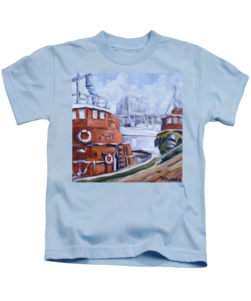 Cascade Kids T-Shirt featuring the painting Tugs In Harbour by Richard T Pranke