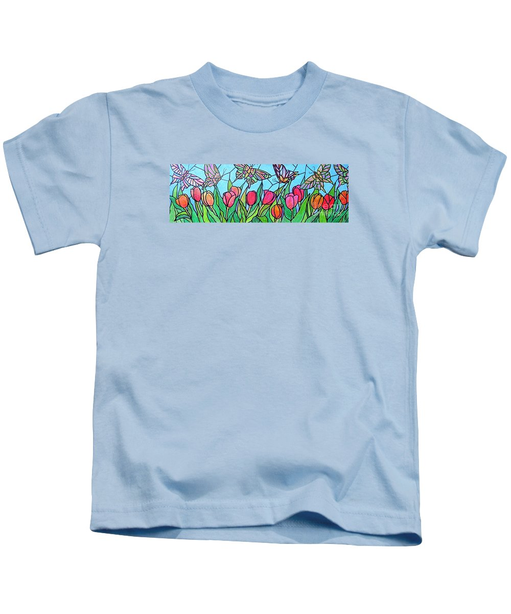 Spring Kids T-Shirt featuring the painting Tulips And Butterflies by Jim Harris