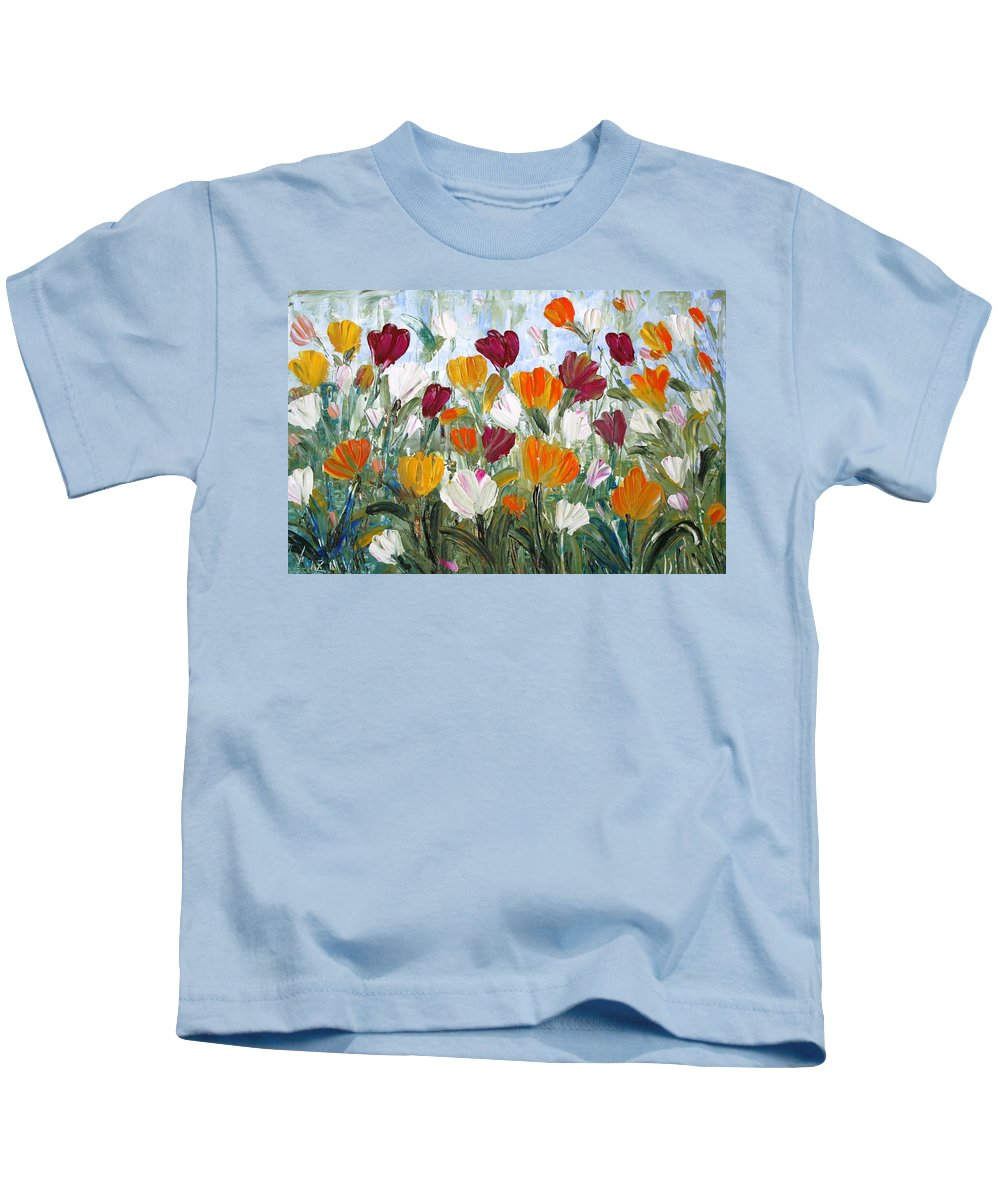 Oil Kids T-Shirt featuring the painting Tulips Garden by Luiza Vizoli